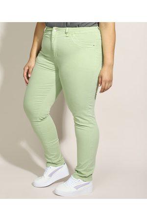 SAWARY Calça de Sarja Feminina Plus Size Skinny Cintura Alta Claro