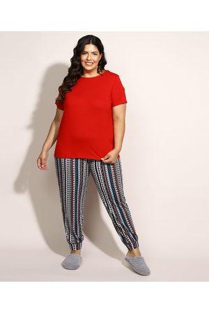 Design Íntimo Mulher Pijamas - Pijama Feminino Plus Size com Estampa Étnica Manga Curta Multicor