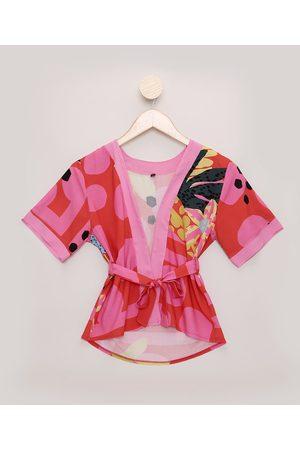 Feline Kimono Tal Mãe Tal Filha Infantil Dots Tropical Manga Curta Vermelho