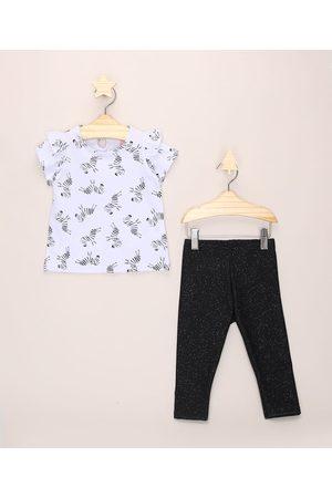 BABY CLUB Conjunto Infantil de Blusa Estampada de Zebra com Babado na Manga Branca + Calça Legging com Glitter Preta