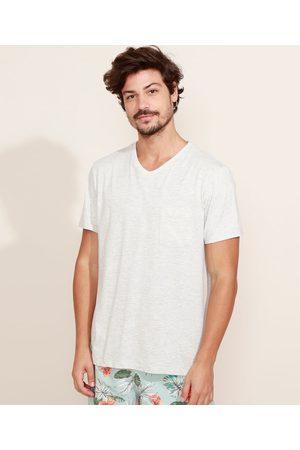 Basics Camiseta Masculina Básica com Bolso Manga Curta Gola V Mescla Claro