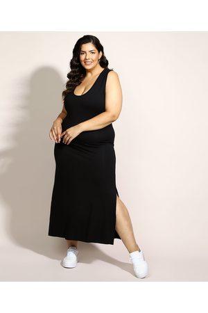 Basics Vestido Feminino Plus Size Básico Midi com Fenda Decote Nadador