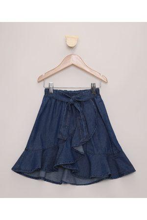 PALOMINO Saia Jeans Infantil Midi Transpassada com Babados Escuro