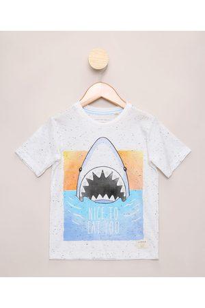PALOMINO Camiseta Infantil Estampada Tubarão Manga Curta Off White