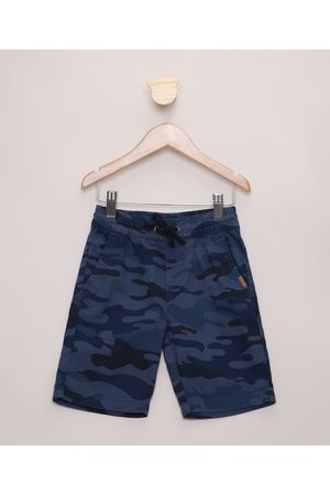 PALOMINO Bermuda Infantil Estampada Camuflada com Bolsos Azul Marinho