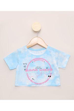 PALOMINO Blusa Infantil Cropped Estampada Tie Dye Manga Curta Azul