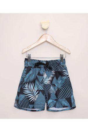 PALOMINO Short Infantil Folhagem Geométrico com Bolsos Cós com Cordão Azul