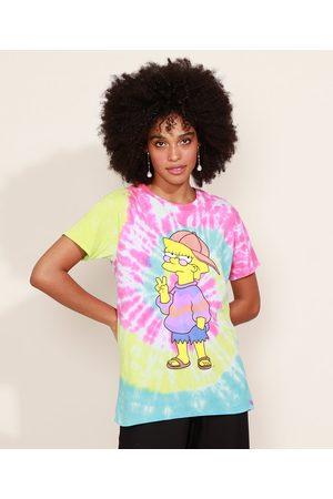 Os Simpsons Blusa Feminina Lisa Estampada Floral Manga Curta Decote Redondo Multicor