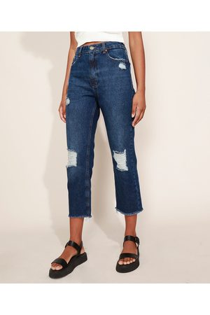 Clockhouse Calça Jeans Feminina Reta Destroyed Cintura Alta Escuro