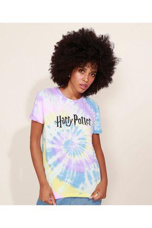 Warner Bros Mulher Manga Curta - Blusa Feminina Harry Potter Estampada tie Dye Manga Curta Decote Redondo Multicor