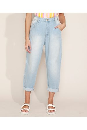 SAWARY Calça Jeans Feminina Sway Slouchy Cintura Alta com Bolsos Claro