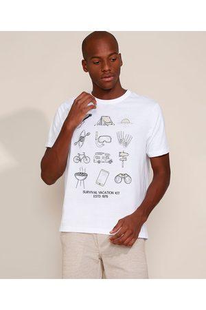 "ANGELO LITRICO Camiseta Masculina Survival Vacation Kit"" Manga Curta Gola Careca Branca"""