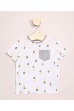 BABY CLUB Camiseta Infantil Estampada Abacaxis Manga Curta com Bolso Off White
