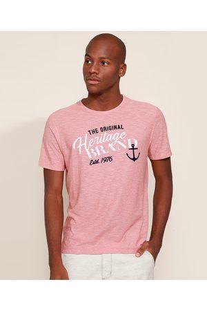 "ANGELO LITRICO Homem Manga Curta - Camiseta Masculina The Original Heritage Brand"" Flocada Manga Curta Gola Careca Coral"""