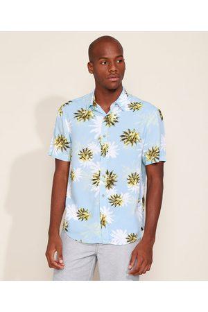Suncoast Camisa Masculina Tradicional Estampada de Coqueiros Manga Curta Azul Claro