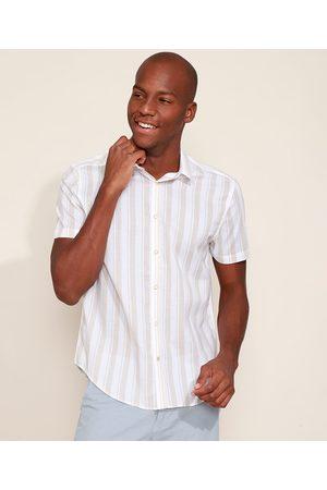AL Contemporâneo Camisa Masculina Slim Listrada Manga Curta Branca