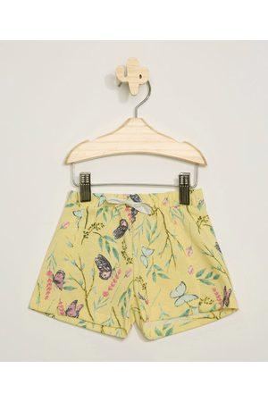 BABY CLUB Menina Bermuda - Short Infantil Floral com Recorte e Cordão Amarelo