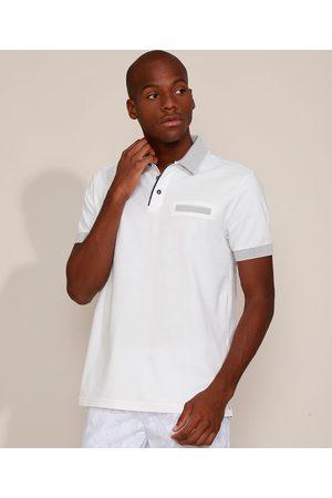 ANGELO LITRICO Homem Camisa Pólo - Polo de Piquet Masculina Comfort com Bolso Manga Curta Branca