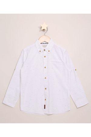 PALOMINO Menino Camisa Manga Comprida - Camisa Infantil Manga Longa Flamê Branca