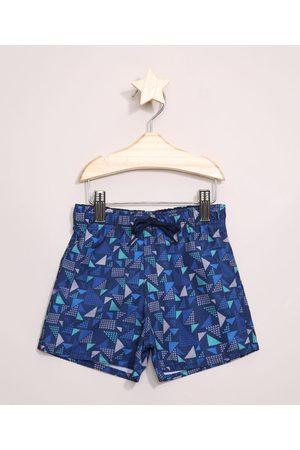BABY CLUB Bermuda Surf Infantil Estampada Geométrica Azul