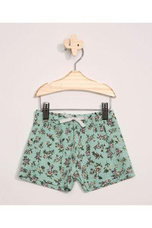 BABY CLUB Short Infantil Floral com Recorte e Cordão Verde