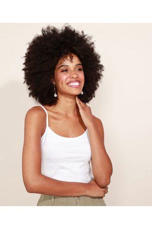 Basics Mulher Alça fina - Regata Feminina Básica Listrada com Brilho Decote Redondo Alças FInas Off White