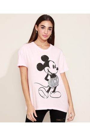 Disney Mulher Camiseta - Camiseta Feminina Mickey com Paetê Manga Curta Decote Redondo Claro