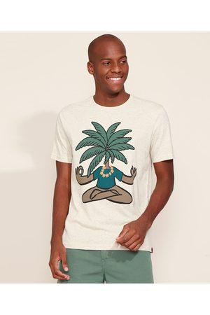 Suncoast Camiseta Masculina Coqueiro Meditando Manga Curta Gola Careca Off White