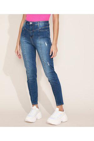 SAWARY Calça Jeans Feminina Sway Super Skinny Cintura Alta com Recorte e Bolsos Escuro