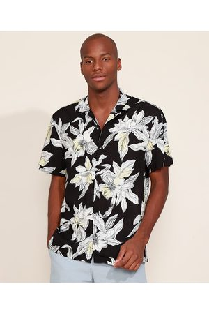 AL Contemporâneo Camisa Masculina Relaxed Estampada Floral Manga Curta Preta