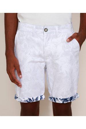 ANGELO LITRICO Bermuda de Sarja Masculina Reta Chino Estampada de Folhagem com Barra Dobrada Branca