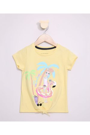 PALOMINO Blusa Infantil Flamingo com Paetê Manga Curta e Nó