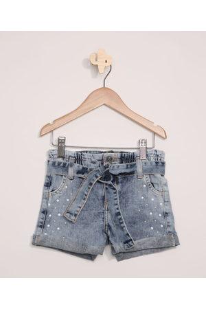 PALOMINO Short Jeans Infantil com Pérolas e Cinto Médio