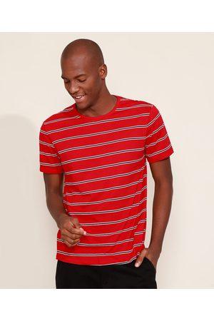 Basics Camiseta Masculina Básica Listrada Manga Curta Gola Careca Vermelha