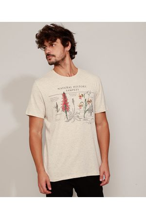 "Clockhouse Camiseta Masculina Natural History Samples"" Manga Curta Gola Careca """