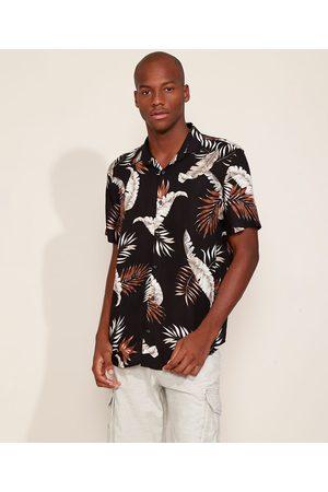 AL Contemporâneo Homem Camisa Casual - Camisa Masculina Relaxed Estampada de Folhagem Manga Curta Preta