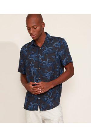 Angelo Lítrico Camisa Masculina Tradicional Estampada de Folhagem Manga Curta Azul Marinho