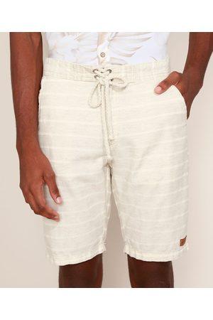Suncoast Bermuda Masculina Reta Listrada Texturizada com Cordão Bege
