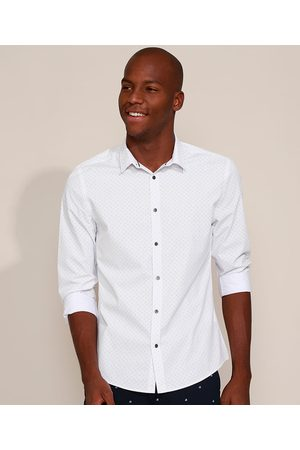 AL Contemporâneo Camisa Masculina Slim Estampada Mini Print Manga Longa Branca