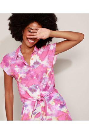 Clockhouse Camisa Feminina Estampada Tie Dye com Nó Manga Curta Multicor