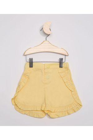 BABY CLUB Short de Sarja Infantil com Babados Amarelo