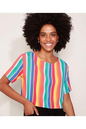 Clock House Mulher Camiseta - Camiseta Cropped Feminina Listrada Manga Curta Decote Redondo Multicor