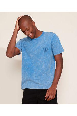 """Suncoast Camiseta Masculina Marmorizada Chasing Summer"""" Manga Curta Gola Careca Azul"""""""