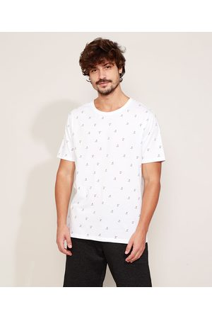 Clock House Camiseta Masculina Estampada Coqueiros Manga Curta Gola Careca Branca