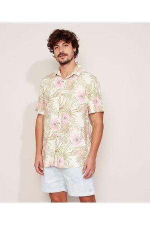 Clock House Camisa Masculina Estampada Floral Manga Curta Bege