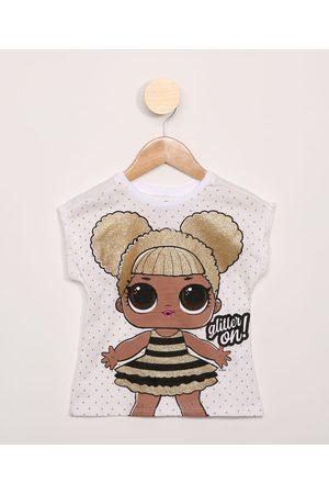 LOL Surprise Blusa Infantil com Glitter Manga Curta Off White