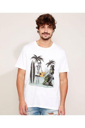 Clock House Camiseta Masculina Caveiras Manga Curta Gola Careca Branca