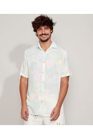 Clock House Camisa Masculina Estampada Tie Dye Manga Curta Multicor