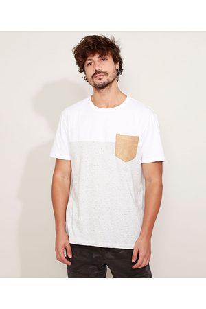 Clock House Camiseta Masculina com Recorte e Bolso Manga Curta Gola Careca Branca