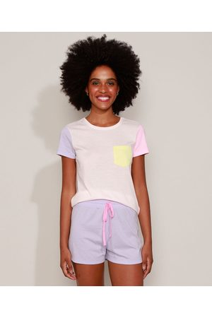 Design Íntimo Mulher Camisola - Pijama Feminino com Bolso Manga Curta Multicor